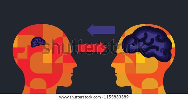 vector illustration of human head arrows with small and big brain for teacher and student concept or knowledge exchange visuals