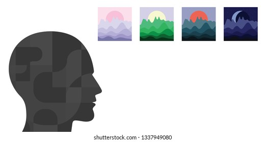 vector illustration of human head and different landscapes for flashbacks or memories visualization