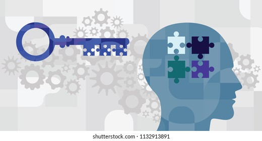 vector illustration of human head and key and jigsaw puzzle for intelligence development and problem solving skills visuals