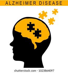 Vector illustration of human head. Medical concept. Alzheimer disease. Mental disease. Old people disease.