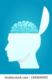 vector illustration of a human head open with brain. describe think out of the box, open mind, and brainstorming. business concept illustration