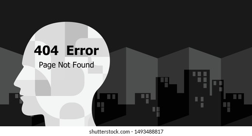 vector illustration of human head and page not found error for identity crisis or digital user fake profile problems