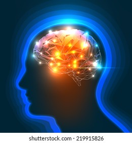 Vector Illustration of a Human Head Silhouette with a Brain.