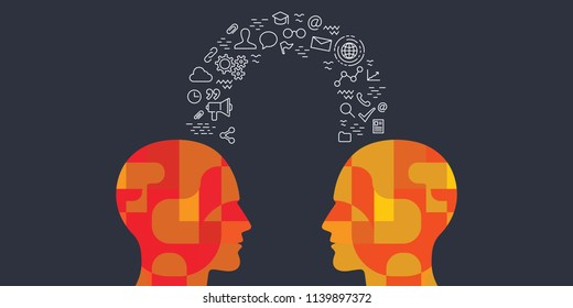 vector illustration of human heads and educational icons items for experience and knowledge exchange concepts