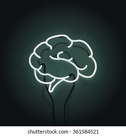 Vector illustration of human intelligence and creativity with human brain. Neon sign on the dark green background.