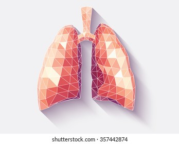 Vector illustration of human lungs with faceted low-poly geometry effect