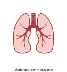 Vector illustration of human lungs. Lungs icon, logo for pulmonary clinic