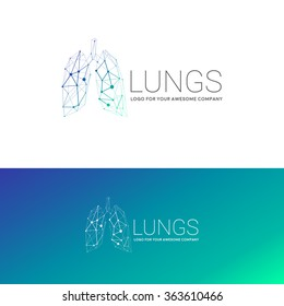 Vector illustration of human lungs with low-poly lined shape geometry carcass logo