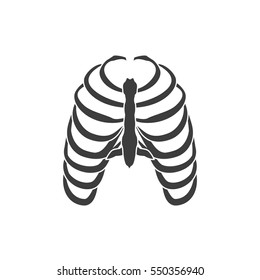 Vector illustration human ribs cage symbol isolated on white background. Thoracic bones icon.