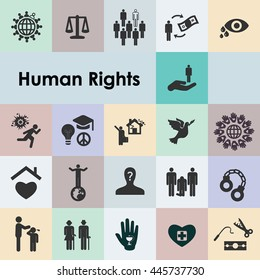 vector illustration / human rights icons set / social and humanitarian problems awareness pictograms