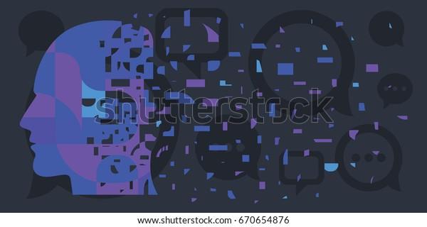 Vektorgrafik von menschlicher Silhouette in Stücken für Trauma- oder Stresskonzepte in dunkelblauer Farbe