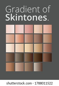 Vector illustration of human skin tone color gradient palette set isolated. Art design. Abstract concept person face, body complexion graphic element for cosmetics.