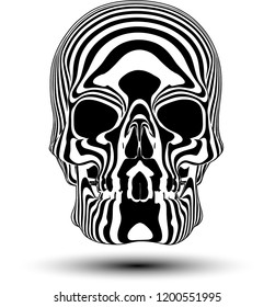 Vector illustration of human skull in black and white stripes isolated on white background.