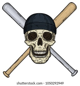 Vector illustration of human Skull with crossed baseball bats and black hat