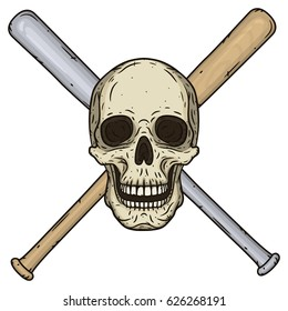 Vector illustration of human Skull with crossed baseball bats in hand drawn style