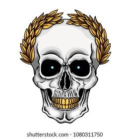 Vector illustration of human skull with golden laurel crown and golden teeth
