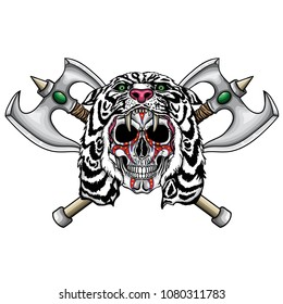 Vector illustration of human skull with war paintings and white lion hood and two fantastic medieval axes.