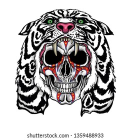 Vector illustration of human skull with war paintings and white lion hood.