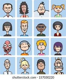 Vector illustration of humor cartoon faces collection. Easy-edit layered vector EPS10 file scalable to any size without quality loss. High resolution raster JPG file is included.