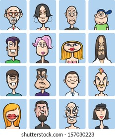 Vector illustration of humor cartoon faces vector collection. Easy-edit layered vector EPS10 file scalable to any size without quality loss. High resolution raster JPG file is included.