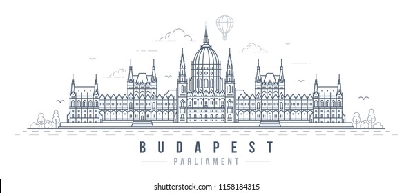 Vector illustration of the Hungarian Parliament in Budapest. Line art style drawing of the famous landmark building in the capital of Hungary.
