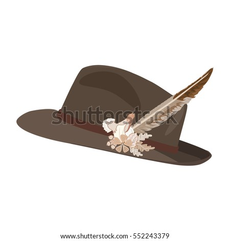 c1e977fb8ac Vector illustration of hunting hat with feather and metal decoration  consists of blackcock