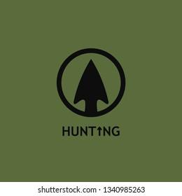 Vector illustration of a hunting logo with an arrowhead