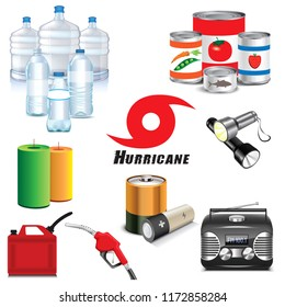 Vector Illustration of Hurricane preparation icons.