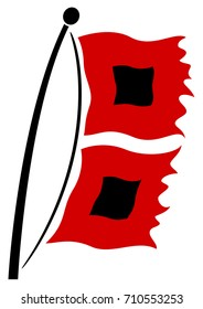 Vector illustration of hurricane warning flags blowing in the wind.