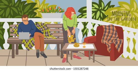 Vector illustration of Husband and wife at lunch, dinner or breakfast at the terrace in the garden for banner, card or poster. Hand drawing family in outdoor