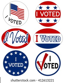 "Vector illustration of ""I Voted"" stickers/signs."