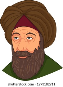 A vector illustration of Ibn al-Haitam Arabian Optician