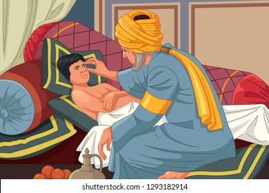A vector illustration of Ibn al-Haitam Arabian Optician Checking on Patient