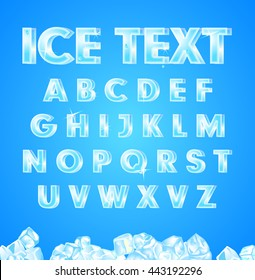 vector illustration vector ice alphabet on blue background and ice the cubes in the bottom
