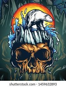 Vector illustration of ice bear on the iceberg with skull island