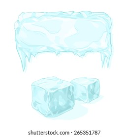 A vector illustration of an Ice block and ice cubes. Ice Blocks. Icons depicting the freezing cold.