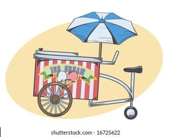 vector illustration of an ice cream cart