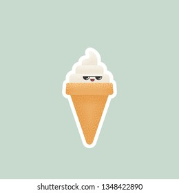 Vector illustration of ice cream with kawaii face and grainy texture
