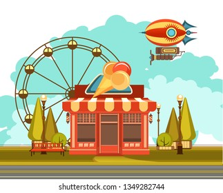 vector illustration of an ice cream shop at the amusement Park, the sky flying a blimp and a Ferris wheel