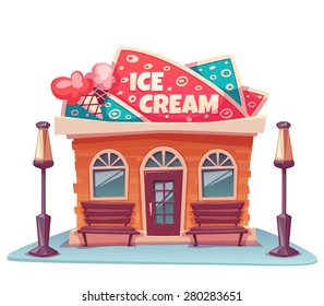 Vector illustration of ice cream shop building with bright banner.