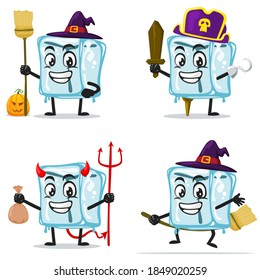 vector illustration of ice cube character of mascot collection set with love or halloween theme
