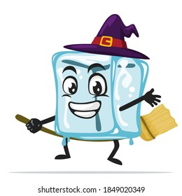 vector illustration of ice cube character of mascot wearing witch costume and ride flying broom