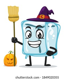 vector illustration of ice cube character of mascot wearing witch costume and holding broom