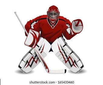 Vector illustration of ice hockey goalie see also logos of hockey fans in my portfolio