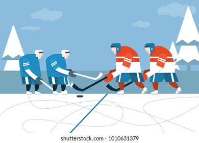 Vector illustration of ice hockey player. Man in sport uniform flat style design.