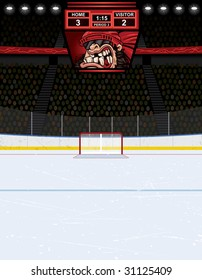 Vector illustration of an ice hockey rink with crowd ready for the big game. Arena includes scoreboard with a home team favorite player clenching his teeth on the screen.