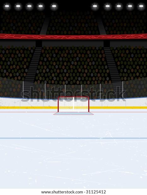 Vector Illustration Ice Hockey Rink Crowd Stock Vector