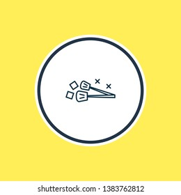 Vector illustration of ice tongs icon line. Beautiful utensil element also can be used as utensil icon element.