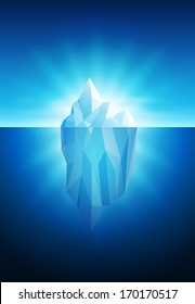 Vector illustration of iceberg. All elements are layered separately in vector file.
