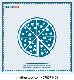 Vector illustration of icon for advertising pizza